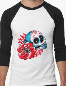 Old School Sugar Skull and Rose Tattoo Flash Men's Baseball ¾ T-Shirt