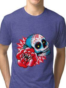 Old School Sugar Skull and Rose Tattoo Flash Tri-blend T-Shirt