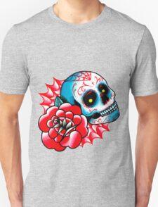Old School Sugar Skull and Rose Tattoo Flash T-Shirt