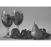 Still Life Wine and Fruit in B & W Photographic Print