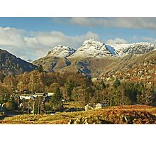 Elterwater Village And The Langdale Pikes Revisited Photographic Print