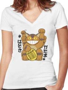 Lucky Catbus Cat Women's Fitted V-Neck T-Shirt