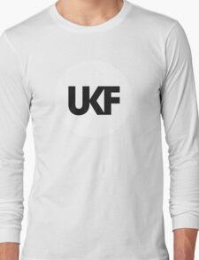 UKF-White and Black Long Sleeve T-Shirt