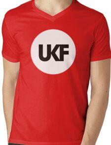 UKF-White and Black Mens V-Neck T-Shirt