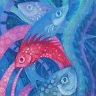 The Spawning, pastel painting, underwaterart by clipsocallipso