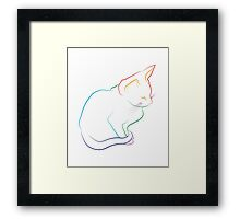 If I fit, I sit  -  Rainbow Edition - White Framed Print
