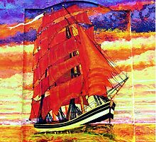 Clipper Ship Wearing Red Sails iPad case by Dennis Melling