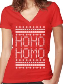 HO HO HOMO CHRISTMAS SWEATER Women's Fitted V-Neck T-Shirt