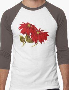 Poinsettia Flowers, Leaves - Red Green Men's Baseball ¾ T-Shirt