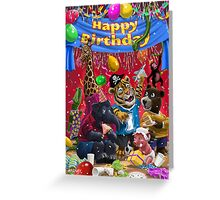 animal birthday party Greeting Card