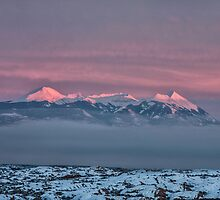 Sunset Glow on La Sal Mountains - Moab, Utah by Mary Warner
