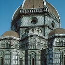 Duomo apses showing parapet only part way round tower Florence Italy 198407090001 by Fred Mitchell