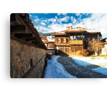 winter beauty of wood house Canvas Print