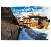 winter beauty of wood house Poster