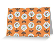 Retro Flowers, Petals, Leaves - Orange Blue Brown Greeting Card
