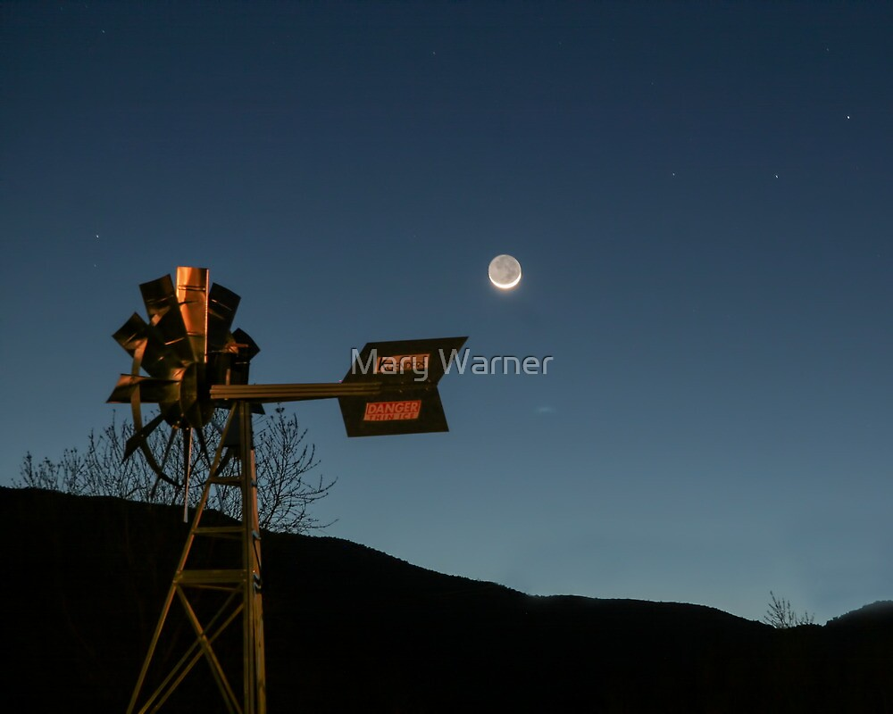 Moonlit Windmill - Bumble Bee, Arizona by Mary Warner