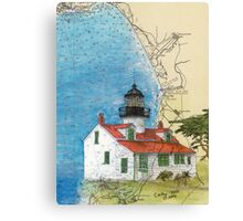 Pt Pinos Lighthouse CA Nautical Chart Cathy Peek Canvas Print