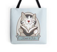 Read to Me Striped Cat Reading Book Tote Bag