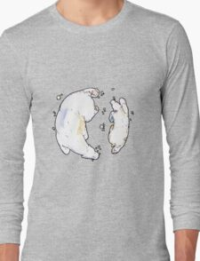 Polar Bear and Cub, taking a swim. Long Sleeve T-Shirt