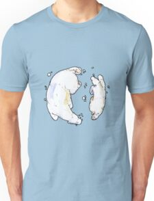 Polar Bear and Cub, taking a swim. Unisex T-Shirt