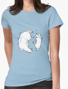 Polar Bear and Cub, taking a swim. Womens Fitted T-Shirt