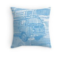 Blue Bay Campervan Montage Throw Pillow