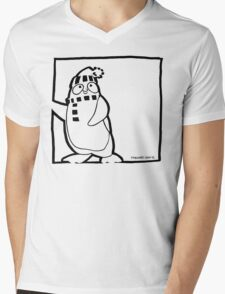 Penguin Black Mens V-Neck T-Shirt