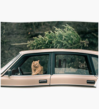 Volvo Christmas Cats Poster