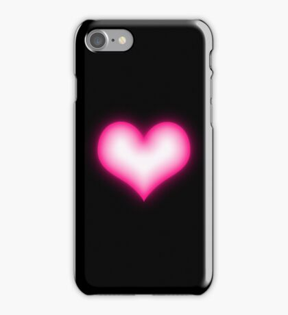 Shiny pink heart on black background iPhone Case/Skin