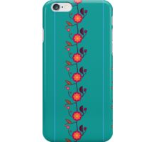 Emerald green with orange flowers iPhone Case/Skin