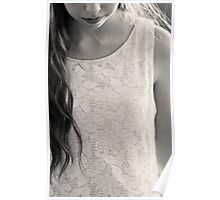 lace dress in black & white Poster