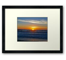 A sunset on the beach at Cambria, Ca. Framed Print
