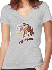 Girafarig Hopping - Pokemon Women's Fitted V-Neck T-Shirt