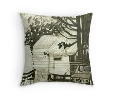 old truck, caravan and tank Throw Pillow