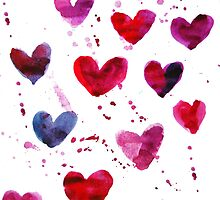 Hearts in Watercolour by Anastasiia Kucherenko