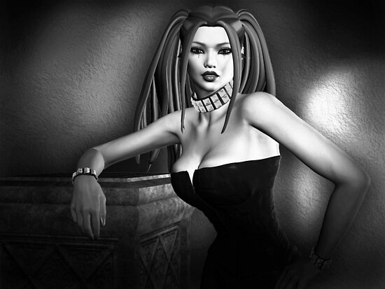 Lust In Black And White Goth Pinup by GothicToggs