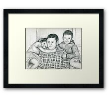 Commission portrait from old family photograph Framed Print