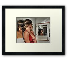 Tonia reflected on the merits of using the flying goggles Framed Print