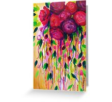 ROSES ARE RAD - Bold Fun Red Roses Floral Bouquet Vines, Flowers Abstract Acrylic Painting Fine Art Greeting Card