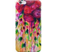 ROSES ARE RAD - Bold Fun Red Roses Floral Bouquet Vines, Flowers Abstract Acrylic Painting Fine Art iPhone Case/Skin