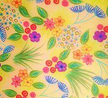 WILDFLOWER FANCY 1 - Cheerful Yellow Lovely Floral Garden Pattern Girly Feminine Trendy Flowers by EbiEmporium