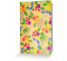 WILDFLOWER FANCY 1 - Cheerful Yellow Lovely Floral Garden Pattern Girly Feminine Trendy Flowers Greeting Card
