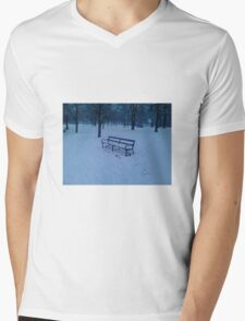 Bench in snow Mens V-Neck T-Shirt