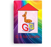 G is for Giraffe Play Brick Canvas Print