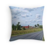 Farm On A Country Road Throw Pillow