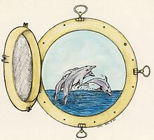 Leaping Porthole Dolphins Nautical Cathy Peek by Cathy Peek