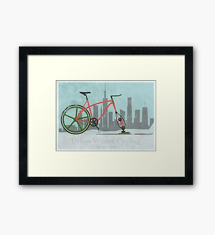Urban Winter Cycling Framed Print