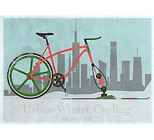 Urban Winter Cycling Photographic Print