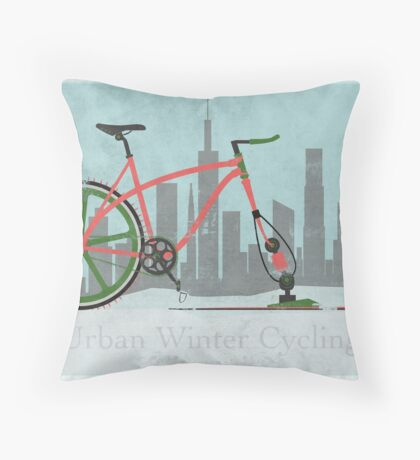 Urban Winter Cycling Throw Pillow
