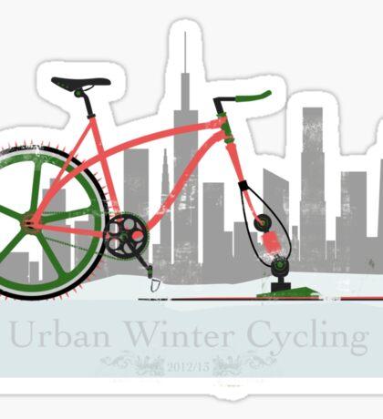 Urban Winter Cycling Sticker